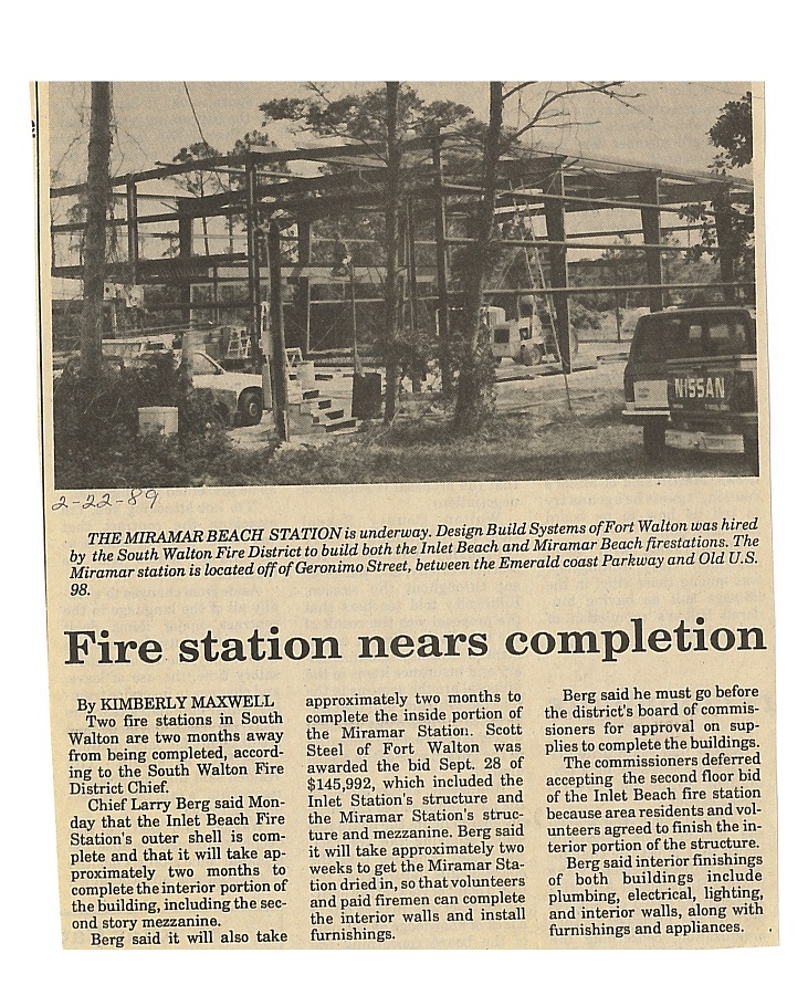 Fire station nears completion news article - February 2, 1989